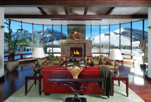 Contemporary Living Room with Cherry - Bronze 5 in. Engineered Hardwood Wide Plank, picture window, stone fireplace