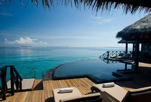 Tropical Swimming Pool with Indian ocean view, Iruveli, maldives, exterior stone floors, Water villa