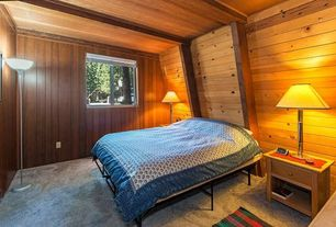 Rustic Guest Bedroom with Exposed beam, Carpet