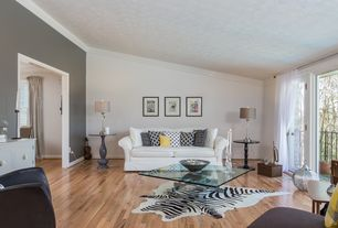 Contemporary Living Room with Standard height, Hardwood floors, French doors, Paint 1, Crown molding