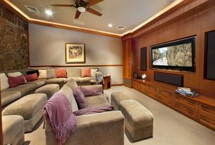 Craftsman Home Theater with interior wallpaper, Ceiling fan, Chelsea home ria sectional, Paint 1, can lights, Standard height