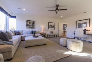 Contemporary Living Room with Ceiling fan, Carpet