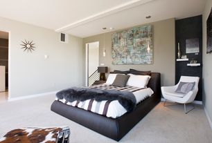 Modern Master Bedroom with Pendant light, Carpet