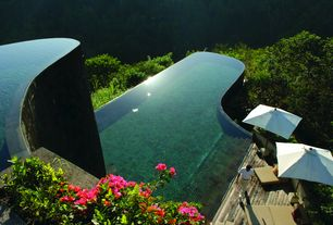 Contemporary Swimming Pool with Infinity pool, Pathway