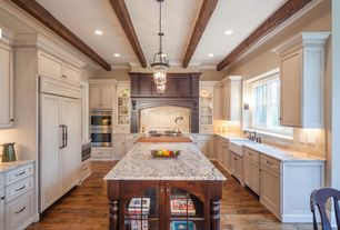 Traditional Kitchen with Livex Lighting Jefferson Imperial Bronze Pendant, Complex granite counters, Hardwood floors, Flush