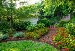 Traditional Landscape/Yard with Pathway, 7 cu. yd. Red Landscape Loose Bulk Mulch, Gate, Fence