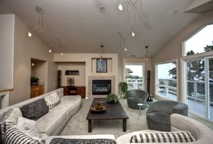 Contemporary Living Room with Cement fireplace, Carpet