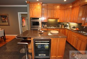 Craftsman Kitchen with Inset cabinets, Flat panel cabinets, European Cabinets, slate tile floors, Simple Granite, L-shaped