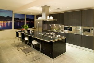 Contemporary Kitchen with Stainless steel island countertop, European Cabinets, Breakfast bar, Flush, Stainless Steel