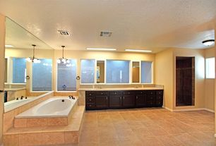 Contemporary Master Bathroom with Double sink, full backsplash, Undermount sink, stone tile floors, picture window, Shower