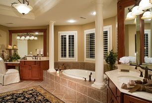 Traditional Master Bathroom with Raised panel, Pental  Hauteville Yellow Polished Limestone, Undermount sink, flush light