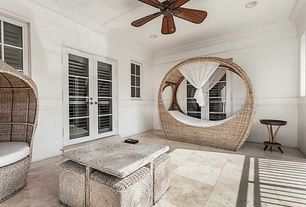 Modern Patio with Poolside Outdoor Rattan Daybed, exterior tile floors, French doors, Wicker Garden Patio Sun Bed