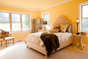 Traditional Master Bedroom with Crown molding, Carpet
