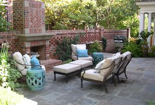 Traditional Patio with Fence, Outdoor seating, Ms international quartzite ostrich grey flagstone, Grill