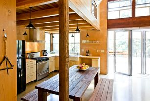 Eclectic Kitchen with Wood paneled ceiling, L-shaped, Millennium Lighting R Series 1 Light Kitchen Island Pendant, Loft