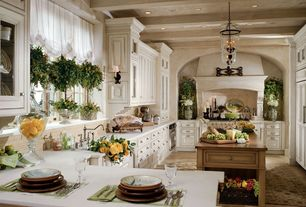 Traditional Kitchen with Pendant light, Limestone Tile, Relaxed roman shade, U-shaped, Exposed beam, Bin pull hardware