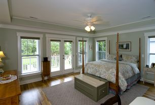 Country Guest Bedroom with Ayca furniture american heritage four poster bed, French doors, Crown molding, Ceiling fan