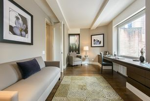Contemporary Home Office with picture window, Standard height, Hardwood floors, flat door, Exposed beam