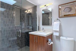 "Modern 3/4 Bathroom with Simple granite counters, George kovacs energy efficient 20"" wide bathroom light, Undermount sink"