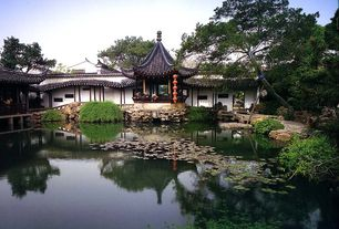 Asian Landscape/Yard with exterior stone floors, Pathway, Pond, Gazebo