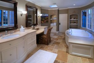 Traditional Master Bathroom with Limestone counters, Flat panel cabinets, Limestone, specialty door, Inset cabinets