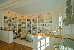 Traditional Library with Exposed beam, Belham Living Geo Arm Chair, Built-in bookshelf, A & e cape cod wall bookcase