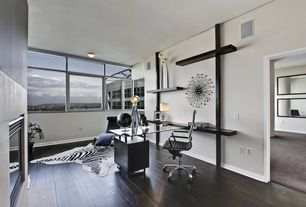 Contemporary Home Office with picture window, insert fireplace, Fireplace, flush light, Standard height, Hardwood floors