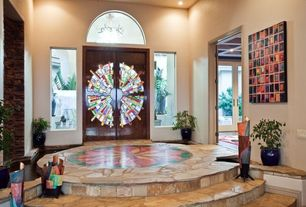 Eclectic Entryway with Transom window, slate floors, Glass panel door, Stone floors