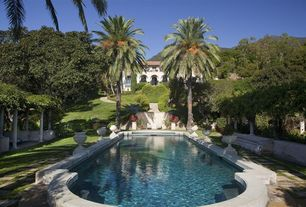 Traditional Swimming Pool with Raised beds, Other Pool Type, Casement, exterior stone floors, Arched window