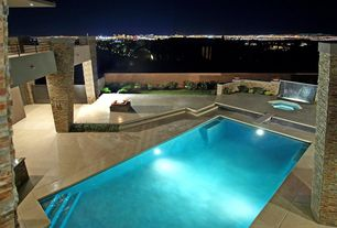Mediterranean Swimming Pool with Fence, Other Pool Type, exterior concrete tile floors, Deck Railing, exterior tile floors