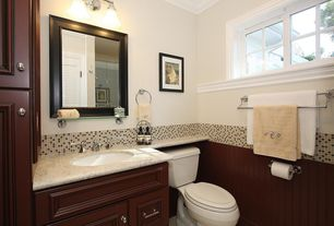 Modern Powder Room with Granite vanity, Casement, Porcelain mosaic floor and wall tile, Wainscotting, Paint, Crown molding