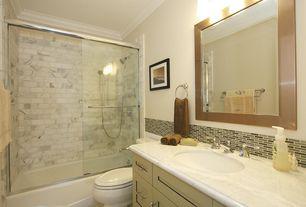 Contemporary Full Bathroom with Towel warmer, Flat panel cabinets, Frameless, partial backsplash, shower bath combo
