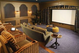 Traditional Home Theater with Carpet, Wainscotting, Wall sconce, Chair rail