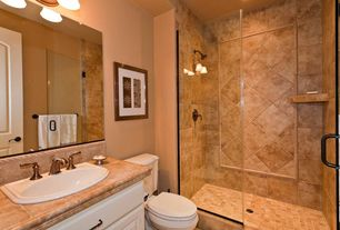 Modern 3/4 Bathroom with frameless showerdoor, Daltile aspen 1525 12x12 field tile, Raised panel, Limestone counters