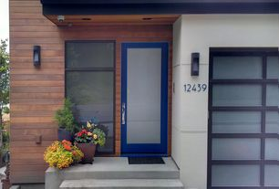 Contemporary Front Door with picture window, French doors