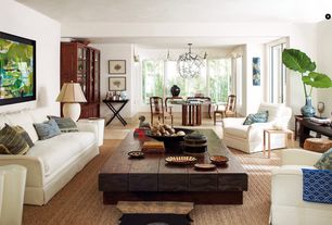 Eclectic Great Room with Chandelier, Convenience Concepts Designs 2 Go Folding Tray Table, limestone tile floors