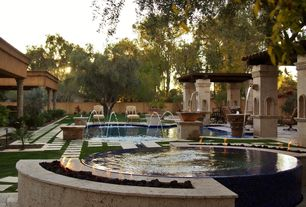 Mediterranean Landscape/Yard with Fountain, Trellis, Fence, Outdoor swimming pool, Pathway, Fire pit, Water feature