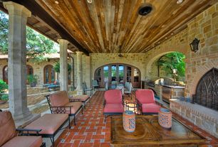 Mediterranean Patio with Casement, Outdoor kitchen, Pathway, Arched window, French doors, exterior brick floors