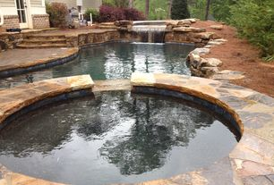 Rustic Swimming Pool with Pathway, Pool with hot tub, exterior stone floors, French doors