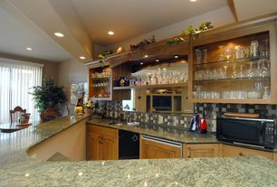 Traditional Bar with Galley, Simple granite counters, Standard height, can lights, dishwasher, Undermount sink, Flush