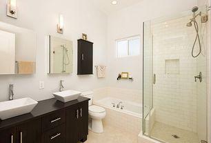 Modern Full Bathroom with Vessel sink, Handheld showerhead, European Cabinets, Flush, Master bathroom, Wood counters