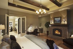 Traditional Master Bedroom with Carlyle Black Velvet Side Chair, Chandelier, French doors, Exposed beam, Wall sconce