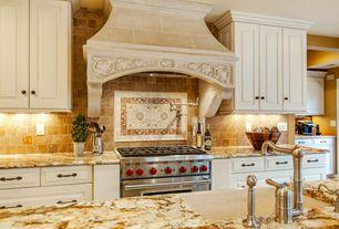 Traditional Kitchen with Raised panel, Stone source,  novelda cream, limestone, beige/taupe, High ceiling, Kitchen island