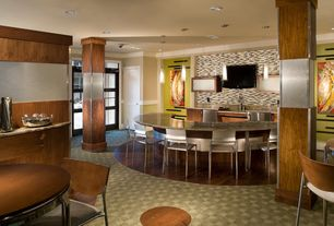 Contemporary Bar with Built-in bookshelf, Hardwood floors, Columns, Pendant light, interior wallpaper