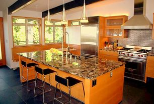 "Contemporary Kitchen with Breakfast nook, Wolfe - 36"" gas range - 4 burners and infrared griddle, Pendant light, Subway Tile"
