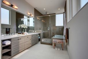 Contemporary Master Bathroom with Casement, Floor And Decor Brush Stroke Nickel Porcelain Tile, Handheld showerhead, Paint 1