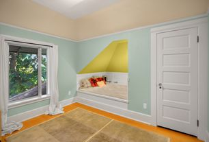 Traditional Guest Bedroom with Hardwood floors, Wainscotting, Standard height, specialty door, Casement, Crown molding