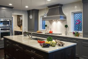 Traditional Kitchen with Flat panel cabinets, Complex marble counters, Pendant light, Undermount sink, L-shaped, Subway Tile