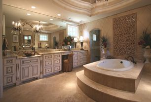 Traditional Master Bathroom with Simple Granite, Bathtub, Shower, stone tile floors, Standard height, can lights, Wall Tiles