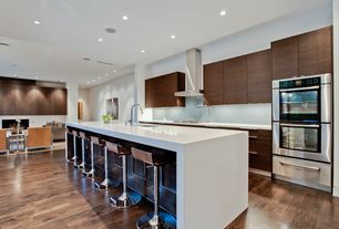 Contemporary Kitchen with Solid bright white, One-wall, Flush, European Cabinets, Breakfast bar, Undermount sink